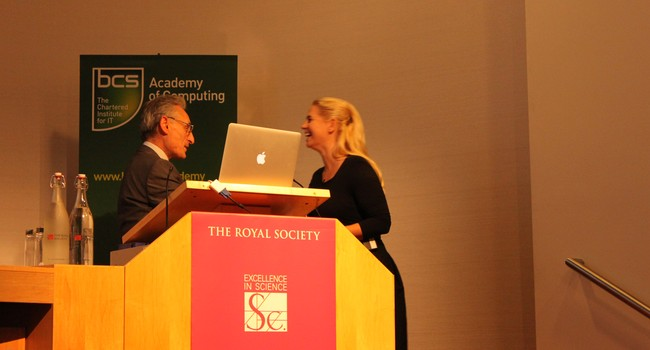 Receiving Roger Needham Award 2011 from Andrew Blake in Royal Society in London