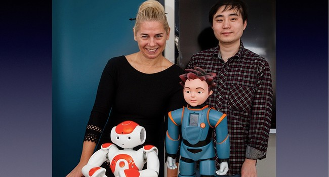 With Jie Shen and the robots Nao and Zeno in 2016